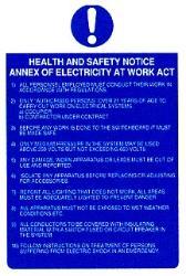 Annex of electricity at work act