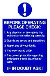 Before operating please check