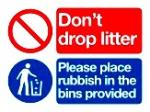 Don't drop litter. Please place rubbish in bins provided.