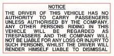 Driver no passengers authorised only