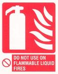 Fire extinguisher / Do not use on flammable liquid