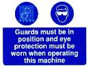 Guards must be in position and eye protection must be worn when operating machinery
