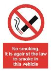 No smoking. It is against the law to smoke in this vehicle