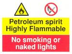 Petroleum spirit. Highly flammable / No smoking or naked lights