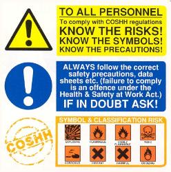 To all personnel / Know the risks / COSHH