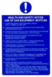 Use of gas equipment: Bottles.