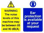 WARNING The noise levels of this machine may be between 85 and 90 dB(A)