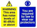 WARNING This area has noise levels of 90 dB(A) or above